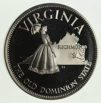 Rare - Limited Edition Virginia The Old Dominion State Sterling Large Silver Medallion 1.2 Troy Ounces!