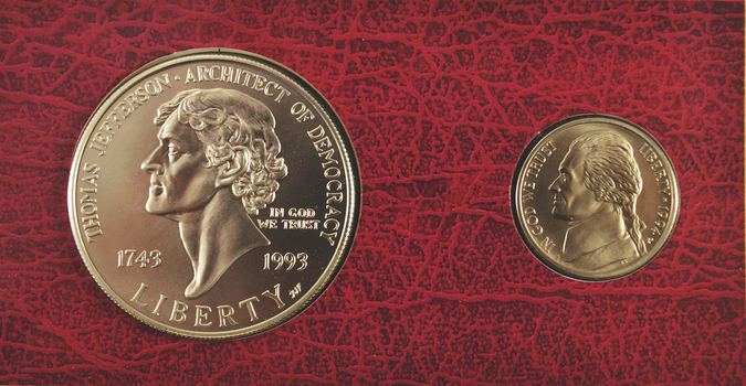 Rare Matte Finish Nickel! - The Thomas Jefferson Coinage And Currency Set - Including Silver Dollar, Nickel, And $2 Bill