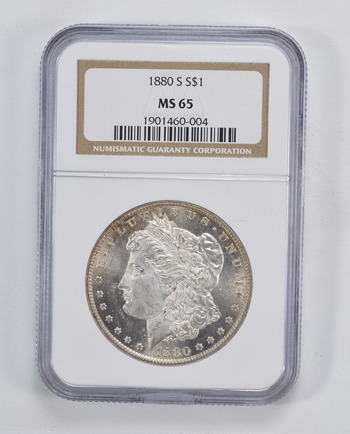 RARE - MS-65 1880-S Morgan Silver Dollar - Graded By NGC - Rare in High Grade - Choice Unc