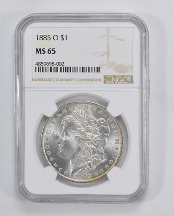 RARE - MS-65 1885-O Morgan Silver Dollar - Graded By NGC - Rare in High Grade - Choice Unc