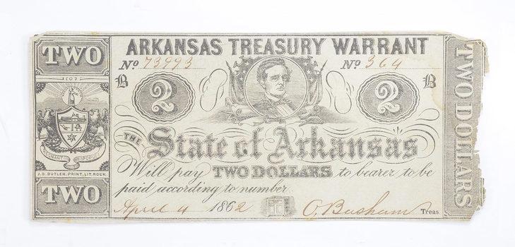 RARE - Obsolete Currency 1862 $2.00 Arkansas Treasury Warrant - Very Historic!