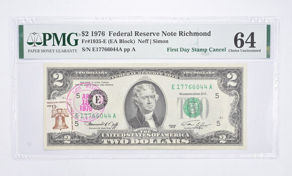 Rare PMG Graded 64 FR1935-E (EA Block) 1976 $2 Note Bill First Day Issue Stamped