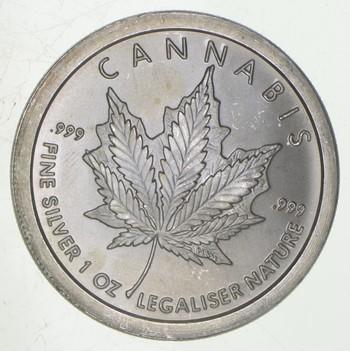 Rare Silver 1 Oz Cannabis Round .999 Fine Silver