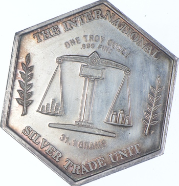 Rare Silver 1 Oz. Silver Trade Unit Round .999 Fine Silver