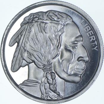 Rare Silver 1 Troy Oz. Indian Head Buffalo Pattern Round .999 Fine Silver