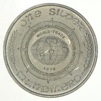 Rare Silver 1 Troy Oz. World Trade Mundinero Round .999 Fine Silver