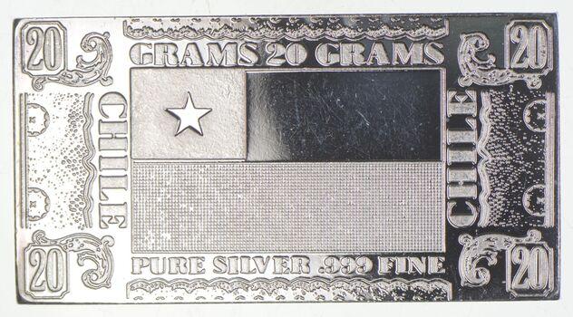 Rare Silver 20 Grams Chile Flag Bar .999 Fine Silver
