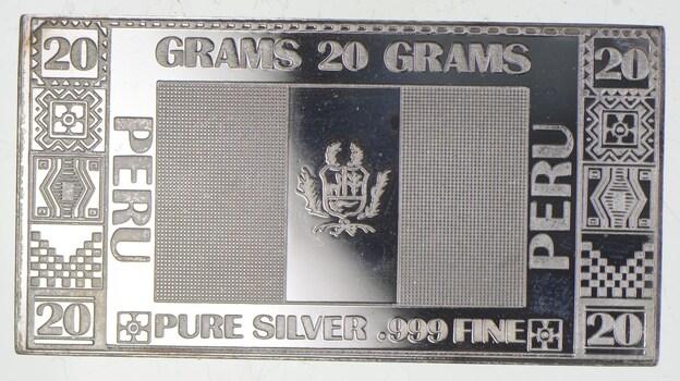 Rare Silver 20 Grams Peru Flag Bar .999 Fine Silver