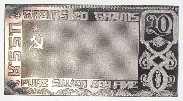Rare Silver 20 Grams USSR Flag Bar .999 Fine Silver