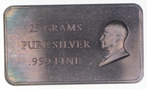 Rare Silver 25 Grams Eisenhower Bust Bar .999 Fine Silver