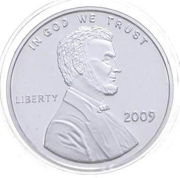 Rare Silver 31.4 Grams 2009 Lincoln Cent Pattern Round .999 Fine Silver