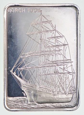 Rare Silver 31.9 Grams Gorch Fock Bark Germany Bar .999 Fine Silver