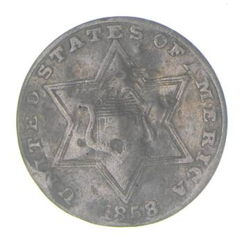 RARE Silver Trime - 1858 Three Cent Silver - 3 Cent Early US Coin - Look it up!