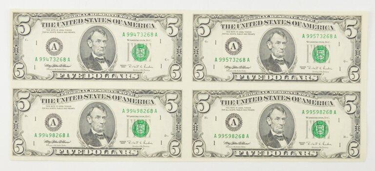 Rare** UNCUT SHEET - 1995 $5 - Choice Unc - Never Cut by the Treasury!