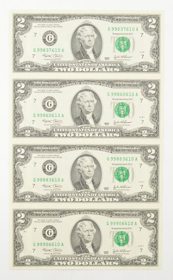 Rare** UNCUT SHEET - 2003 $2 - Choice Unc - Never Cut by the Treasury!