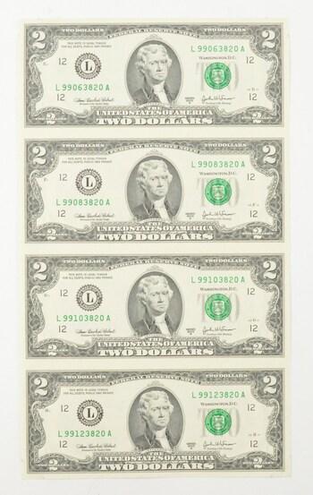 Rare** UNCUT SHEET - 2003-A $2 - Choice Unc - Never Cut by the Treasury!