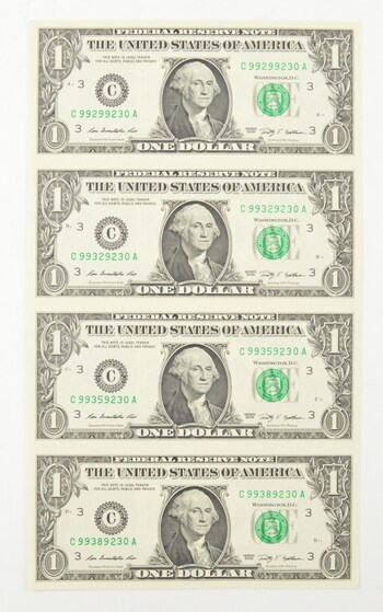 Rare** UNCUT SHEET - 2009 $1 - Choice Unc - Never Cut by the Treasury!