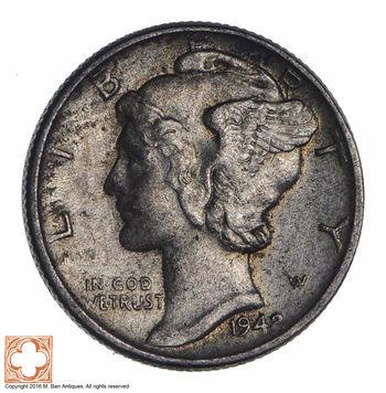 Razor Sharp 1942 Mercury Liberty Dime - 90% Silver - Stunning in High Grade