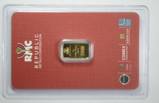 Republic 1 Gram Fine Gold Bar - With Original Packaging