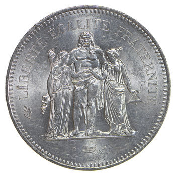 Republic of France 1977 50 Francs Silver Coin - 90% Silver - Weighs 30 Grams