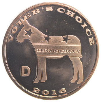 Republican Democrat - Voters Choice - One Oz .999 Fine Copper Round - Limited Edition