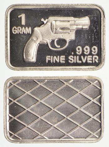 Revolver - 1 Gram .999 Fine Silver - Custom Designed Silver Bar