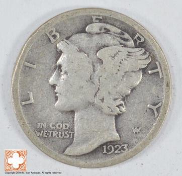 Roaring 1920'S - 1923 Mercury Liberty Head Silver Dime