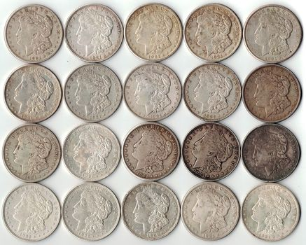 Roll of 20 - 1921 Morgan Silver Dollars - Last Year of Issue - 90% Silver