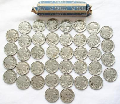 Roll of Nice, Full Date Buffalo Nickels - 40 Coins Dated 1938 or Earlier - No Junk