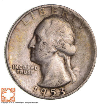 SAN FRANCISCO - 'S' Minted 1953-S Washington 90% Silver United States Quarter