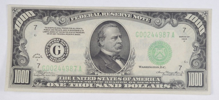 Series 1934-A $1000 Federal Reserve Note - Chicago - Choice