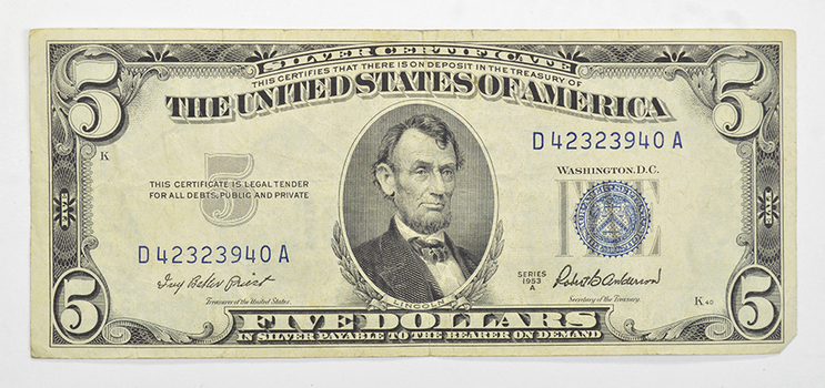 Series 'A' 1953 Anderson $5.00 Silver Certificate United States Note