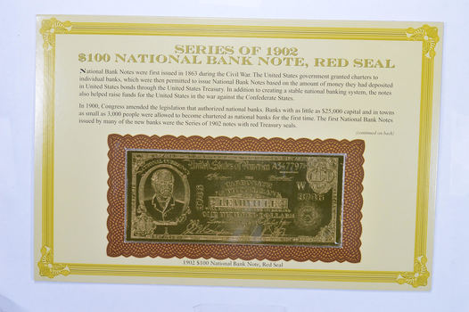 Series of 1902 $100 Red Seal National Bank Note - Tribute Note - Interesting History!