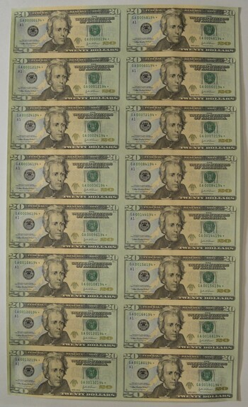 Sheet Of 16 2004-A $20 Federal Reserve Notes - Uncut Sheet Of Notes!