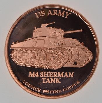 Sherman Tank - Military Series - 1 Oz .999 Fine Copper Round