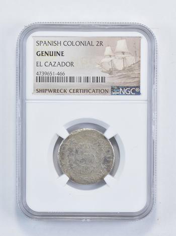 Ship Wreck! El Cazador 1768 2 Reales - Spanish Colonial NGC Pillar
