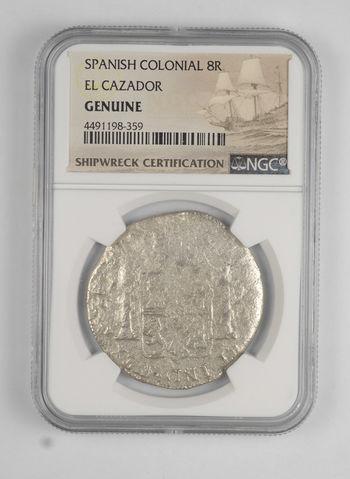 SHIP WRECK - El Cazador 1777-83 Spanish Colonial - 8 Real Silver Coin - NGC Graded