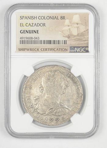 SHIP WRECK El Cazador 1778 Spanish Colonial - 8 Real Silver NGC Pillar Dollar