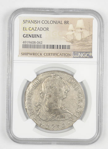 SHIP WRECK El Cazador 1780 Spanish Colonial - 8 Real Silver NGC Pillar Dollar