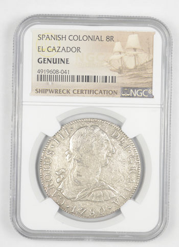 SHIP WRECK El Cazador 1780 Spanish Colonial - 8 Real Silver NGC Pillar Dollar