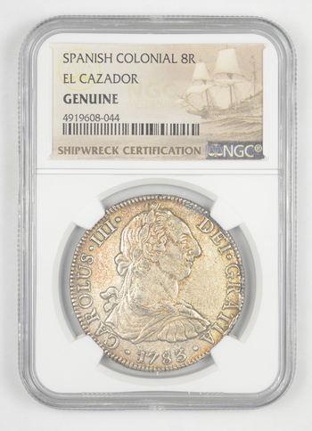 SHIP WRECK El Cazador 1783 Spanish Colonial - 8 Real Silver NGC Pillar Dollar