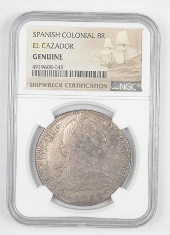 SHIP WRECK El Cazador 1783 Spanish Colonial - 8 Real Silver NGC Pillar Dollar