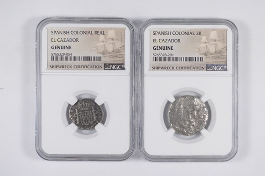 Ship Wreck! El Cazador - 2 Coins - 1 & 2 Real - Spanish Colonial NGC Pillar