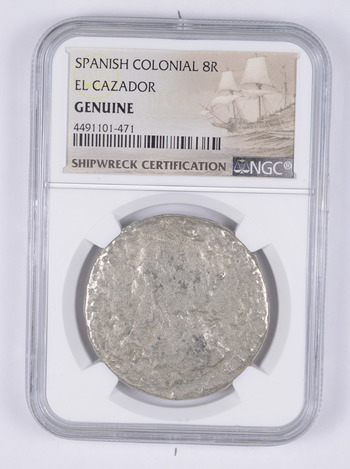 SHIP WRECK - El Cazador Spanish Colonial - 8 Real Silver Coin - NGC Graded