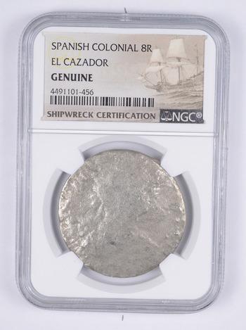 SHIP WRECK - El Cazador Spanish Colonial - 8 Real Silver Coin - NGC Graded