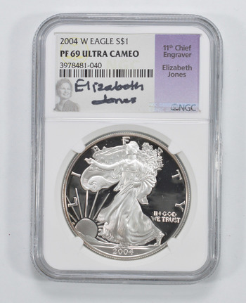 SIGNED - PROOF PF-69 ULTRA CAMEO 2004-W American Silver Eagle 1 Oz Graded NGC - RARE Black Insert