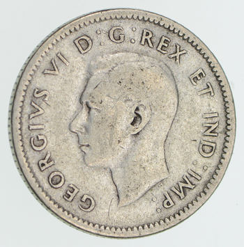 SILVER - 1946 Canada 10 Cents - World Silver Coin