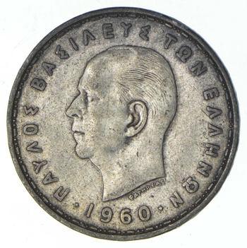 SILVER - 1960 Greece 20 Drachmai - World Silver Coin 7.4 Grams
