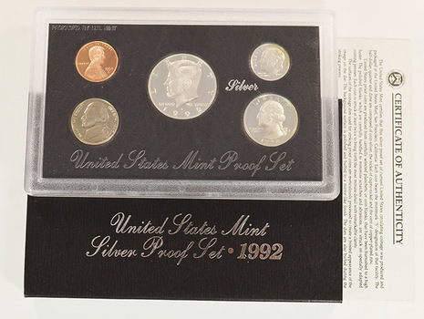 SILVER - 1992-S Deep Cameo U.S. Proof Set - 5 Coin Set - Includes 3 90% SILVER