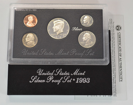 Silver 1993-S Deep Cameo U.S. Proof Set - 5 Coin Set - Includes 3 90% SILVER
